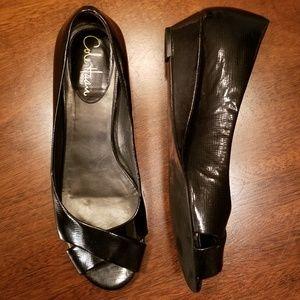Cole Haan Peep Toe Black Patent Nike Air Wedge